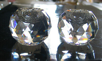 vtg CRYSTAL FACETED Small 1 1/4 Ball Candle Holder Pair by Swarovski  #7600