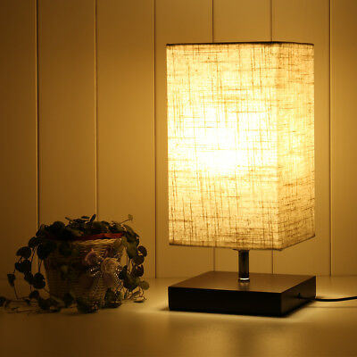 Simple Table Lamp Bedside Desk Lamp Fabric Shade Solid Wood Base Bedroom Hotel