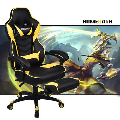Video Computer Gaming Chair Racing Style w/ Footrest PU High Back Leather Seat