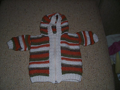 New Hand Knitted Baby Hooded Cardigan Striped Rust,green &bone 0 -3 Months App