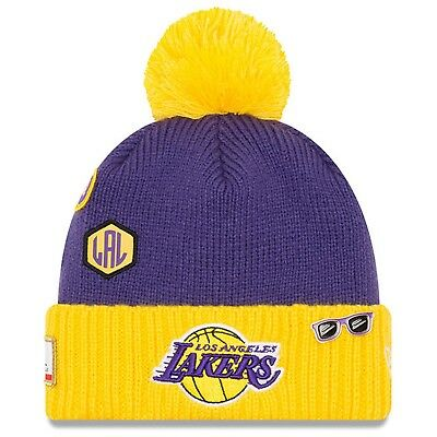 0fee500c4a5 Los Angeles Lakers New Era 2018 Draft Cuffed Knit Hat With Pom – Purple