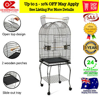 Large Metal Pet Bird Parrot Canary Cage With Play Roof Top Ladder Wheels - Black