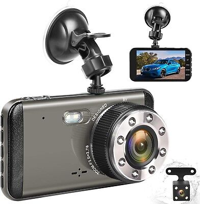 Effort Dual Dash Cam HD Front And Rear,H3 Night Vision Car Camera,4' IPS Screen