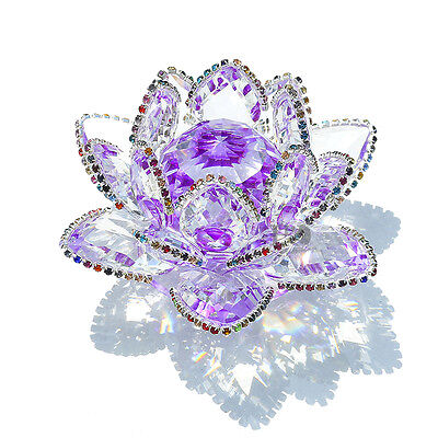 Clear & Purple Crystal Lotus Ornament Flower Craft Paperweight Home Decor Gift