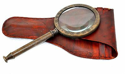 """Vintage 4""""Antique Brass Magnifying Glass Magnifier Collectible With Leather Case"""
