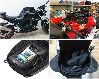 Magnetic Motorcycle Oil Fuel Tank Bag SaddleBag Clear Window Moto Outdoor
