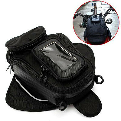 Magnetic Motorcycle Oil Fuel Tank Bag Waterproof Phone Holder Black Universal