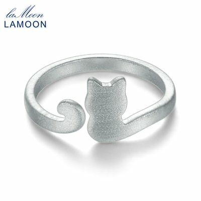 Lamoon Cute Little Cat Shape 925 Sterling Silver Adjustable Opening Ring Gift SY