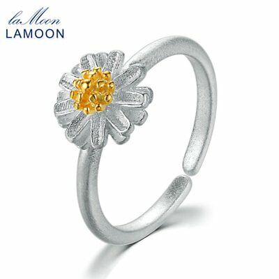 Lamoon Cute Flower 925 Sterling Silver Adjustable Opening Ring Jewelry Gift SY