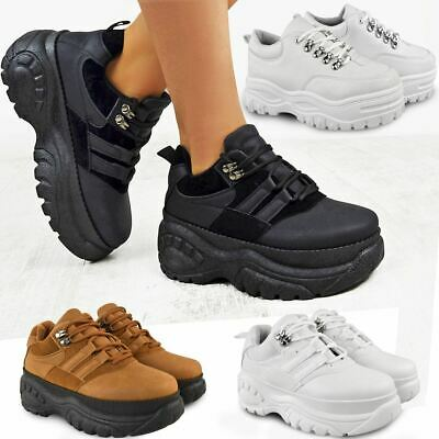 Womens Ladies High Platform Trainers Sneakers Retro Boots Chunky Rock Punk Goth