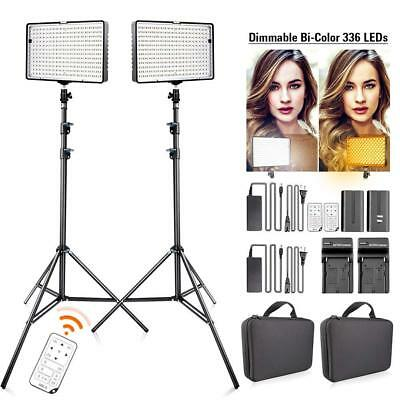 FOSITAN 2Pcs/Kit Bi-Color 336 LED Video Light Studio 3200~5500K Lighting Kits US