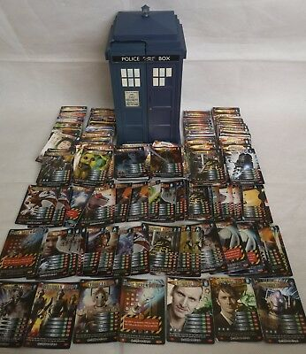 Dr Who Battles in Time Collectable Trading Cards Near Complete Set in Tardis Lot