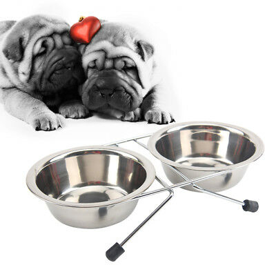 Dual Raised Pet Dog Puppy Feeder Bowl Stainless Steel Food Water With Stand