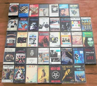 Huge Bulk Lot of 1970 /1980 Cassette Tapes ~Bowie, Midnight Oil, Meatloaf, Dylan
