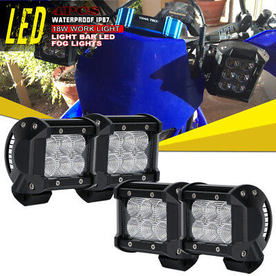 4x 4Inch LED Work Light Bar Flood Pods Off-Road Lamp For ATV Kawasaki Yamaha 18W
