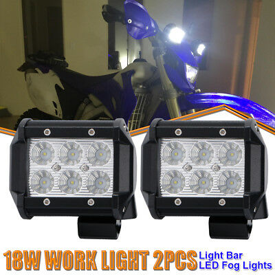 "Pair 4""LED Work Light Bar Flood Pods Off-Road Lamp For ATVs Kawasaki Brute Force"