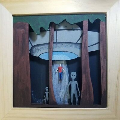Alien Invasion W/ Spaceship/UFO 3d Wood W/ Acrylic Hand Painted shadow box decor
