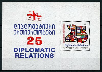 Georgia 2018 MNH Diplomatic Relations 25 Years 1v M/S Diplomacy Flags Stamps