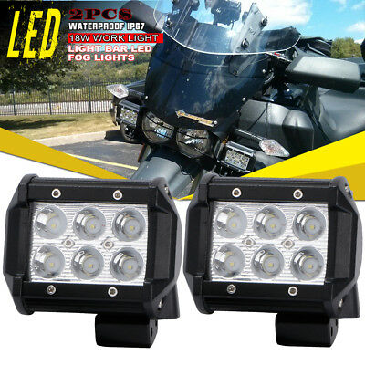 2X 4inch 18W LED Work Light Bar Spot Beam Pods Off-Road Lamp For Honda Kawasaki