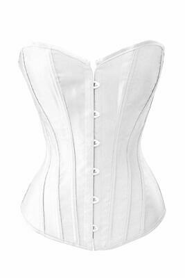 Chicastic Black Satin Sexy Strong Boned Corset Lace Up Overbust Bustier Bodys...