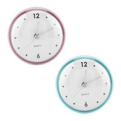 Round Wall Clock Suction Cup hower Quartz Clock Waterproof Home Bathroom Decor A