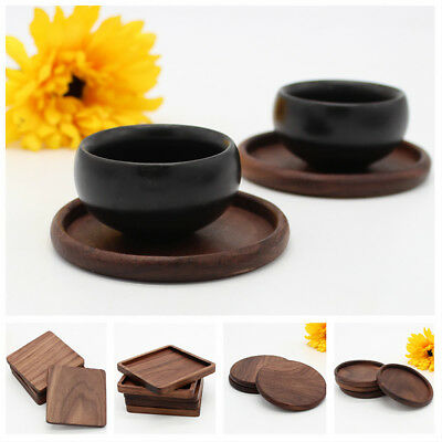 Round Square Cup Mat Coaster Black Walnut Wood Insulation Table Mug Pad Noted