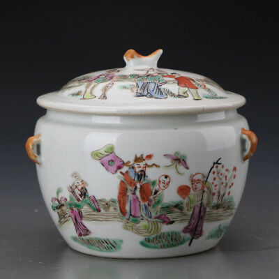 "6"" China antique Porcelain Qing famille rose God of Longevity Tea Caddy"