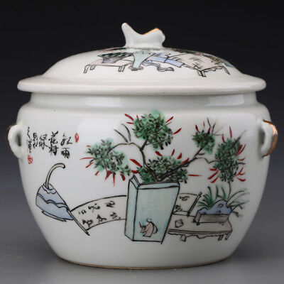 "6"" China antique Porcelain Qing famille rose flowers and grass Tea Caddy"