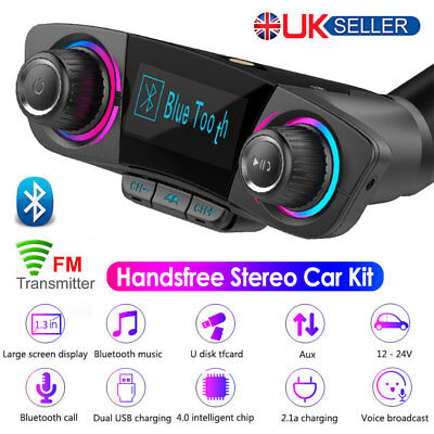 FM Transmitter Modulator Bluetooth Handsfree Car Kit USB Charger Aux MP3 Player