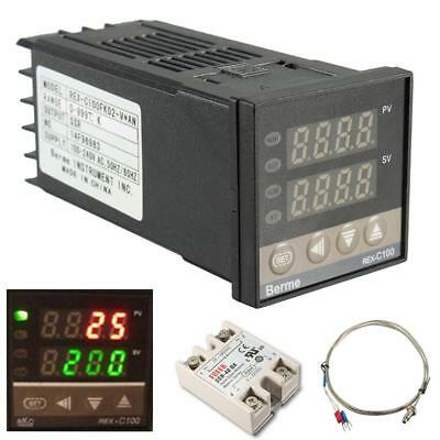 REX-C100 PID Temperature Controller 100-240V + 40A SSR +K Thermocouple 0-999℃ UK
