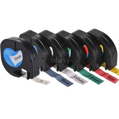 Plastic Letratag Tape Paper Black on Label 12mmx4m for Dymo Manager Printer H6T4