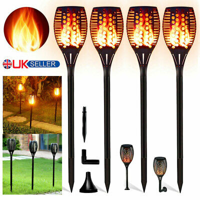 True Flame Solar Torch Light Warm White LED Flickering Stake Outdoor Garden Lamp