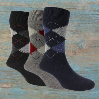 3 Pairs of Men's Argyle Wool Cashmere Socks - Ethan