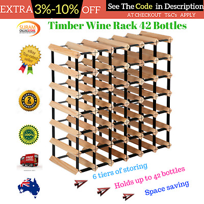 42 Bottle Timber Wine Rack Wooden Organiser Steel Stand Storage Solution New