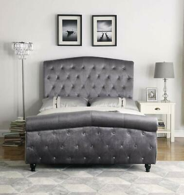 New Sleigh Chesterfield Bed Rochelle 4FT6 Double Velvet Fabric Bed In Pewter