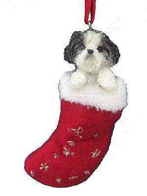 Shih Tzu Black Puppy Santa's Little Pals Dog Christmas Ornament