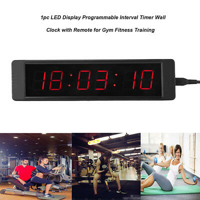 Programmable LED Remote Wall Clock Prscise Timer Stopwatch for Fitness Training^