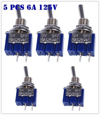 New 5pcs 2-Pin SPST ON-OFF 2 Position 6A 125V AC Mini Toggle Switches MTS-101