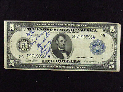 """1914 $5 Federal Reserve Note """"TO MY DARLING DAUGHTER, DAD"""""""