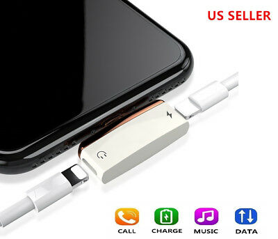Lighting Double Adapter  Splitter Headphone Audio dongle apple for Iphone 7/8/X