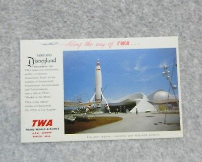 1955 DISNEYLAND POSTCARD TWA  Rocket to the Moon  Lone Gone Attraction UNUSED