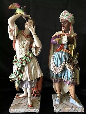 Antique French Jean Gille Pair Of Bisque Figurines Extremely Rare
