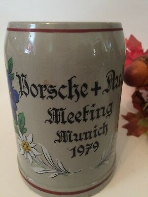Vintage Porsche + Audi Meeting Munich 1979 German Beer Mug w/ Floral Design