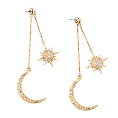Fashion Bling Star and Moon Rhinestone Long Pendant Dangle Earrings Jewelry Z