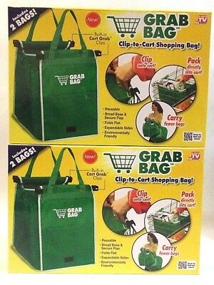 Clip to Cart Shopping Bag Grab Bag Reusable Built in Clips 2 Bags LOT OF 2