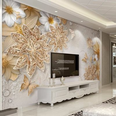 HOME WALLPAPER BEDROOM Living Room Wall 3D Luxury Flower Butterfly ...