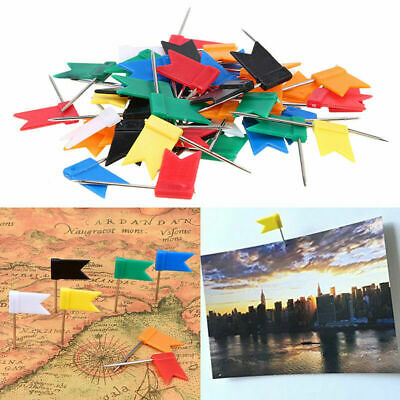 50Pcs Flag Marker Shape Map Pins Cork Notice Board Push Pin Assorted Office Home