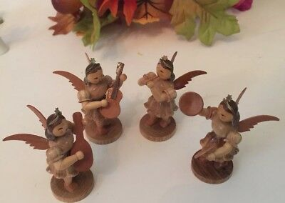 Vintage  Erzgebirge Christmas Angel Musicians Carved Miniatures Group Of 4