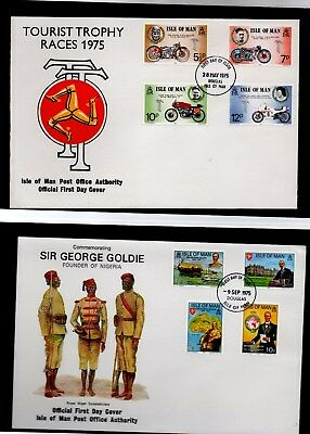 Isle of Man - 1975 mixed FDC postage stamps (7 covers)