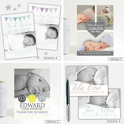 Personalised Baby Photo Thank You Birth Announcement Cards Boy Girl
